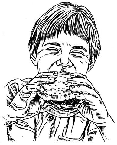 Boy loves meat (study)