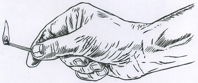Hand with match (study)