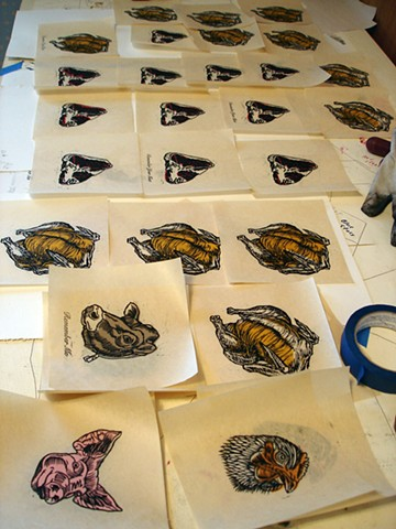 Assorted block prints (Dead Meat) produced at Dead End II reception