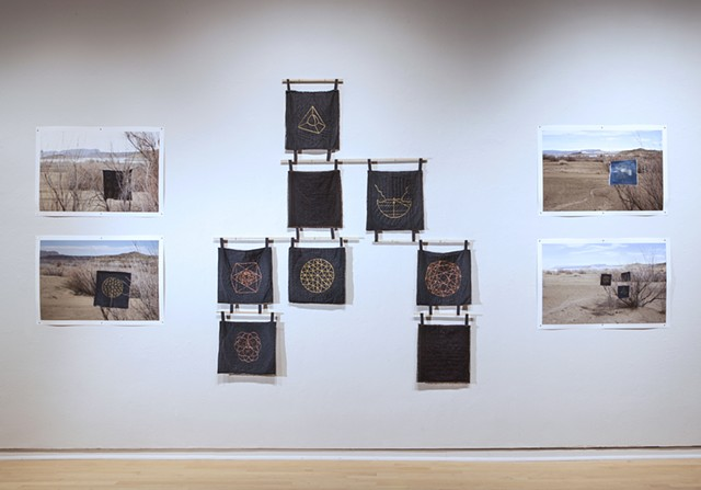 Installation View: (center) Whole Earth Samplers I   (left/right) Whole Earth Samplers at Elephant Butte, NM II, III,