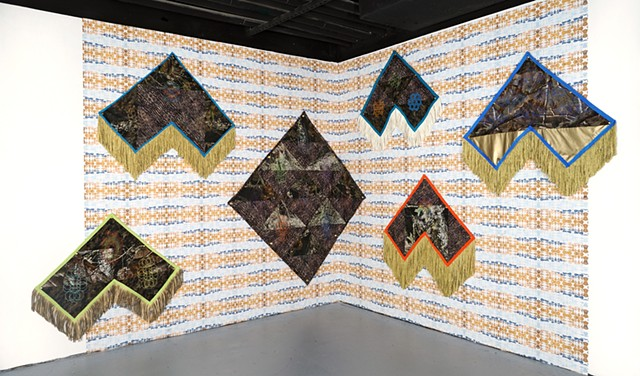 Installation View with Triple River Wallpaper in Assembly 2019, Arlington Arts Center, Arlington VA