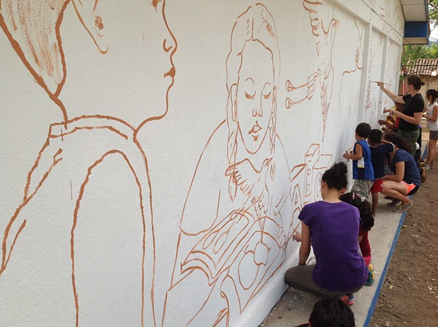 Drawing on pre-school for mural.