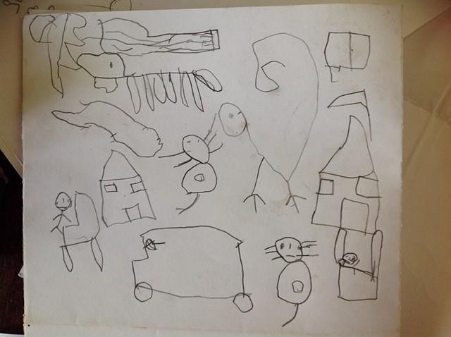 Dibujo de un niño en la preescolar.