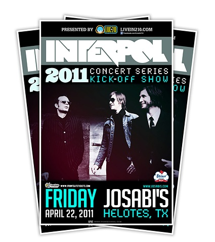 INTERPOL MUSIC, GIG POSTERS, TEXAS, TONY FORTE, TFVC DESIGN, LIVE IN 210
