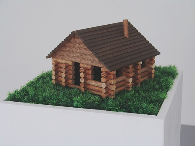 model log cabin kit with tiny text of the title repeated on it