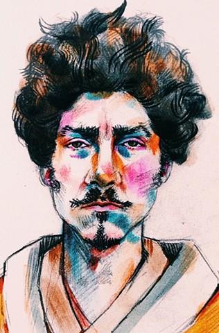 Detail of Portrait of Ezra Pound by Tom Deslongchamp