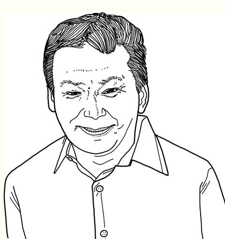 Line drawn portrait of David Graeber by Tom DesLongchamp
