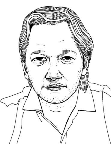Line drawn portrait of Julian Assange by Tom DesLongchamp