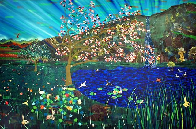 Hummingbird Wars, 2011 Acrylic, Ink, Marker, and Spraypaint on Canvas by Nicholas Bohac American   San Francisco, CA America 2012 Collection (c) 2011- Nicholas Bohac  Signal From San Francisco Two Paintings by Nicholas Bohac