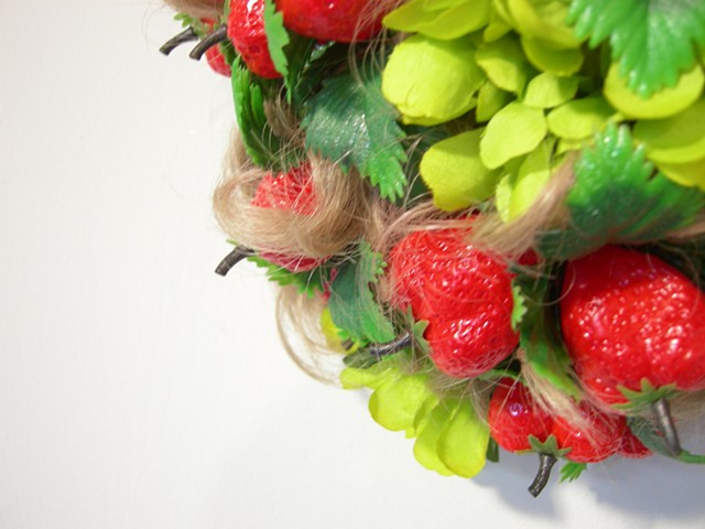 Curls with Strawberries and Zinnias, details