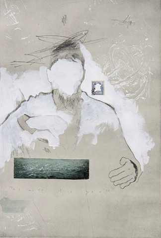 "Matt Bodett, ""Orpheus 2"", Drypoint, Mixed Media"