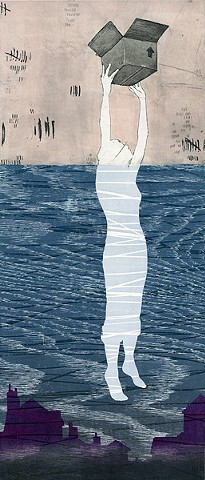 "Megan Sterling, ""Above Water 2"", Etching, Woodcut"