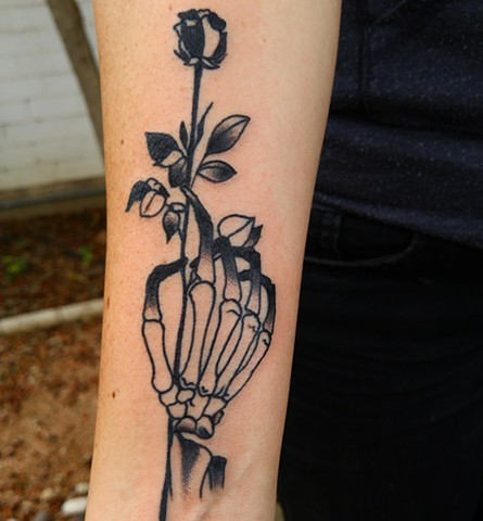 Rose and Skeleton Hand