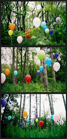 Balloons, color, forest