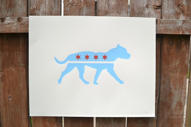 Pitbull, chicago, print, illustration, chicago flag