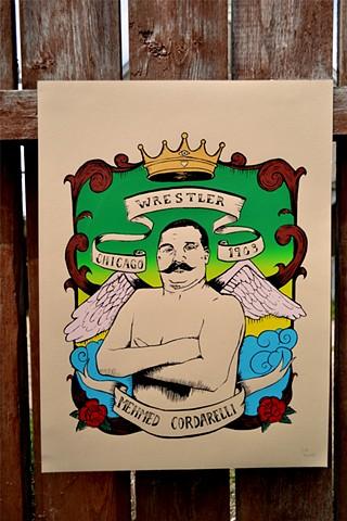 Wrestler, illustration, print, screenprint,