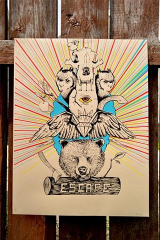 Screenprint, Escape, Bear, Totem
