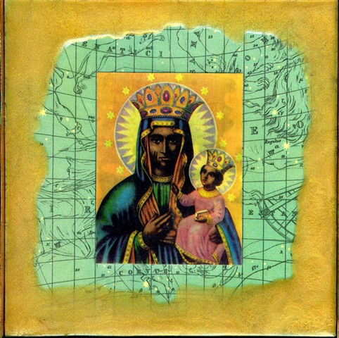 Encaustic Collage of Black Madonna and icons with antique prints by Flora Calabrese