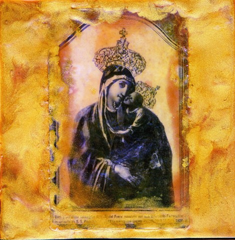 Encaustic Collage of antique icons and prints by Flora Calabrese
