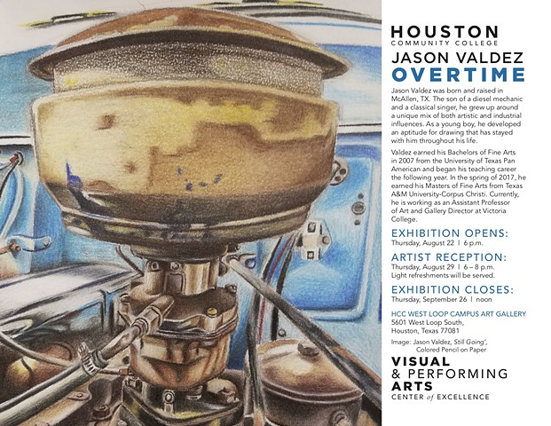 Jason Valdez: Overtime, HCC West Loop Art Gallery, Houston, Texas,  September 22-August 29, 2019