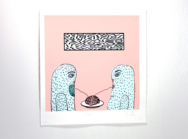 Screenprint of two yetis enjoying a fine meal