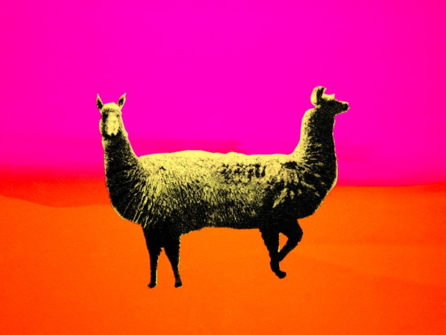 Detail of a screenprint of llamas post nuclear fallout