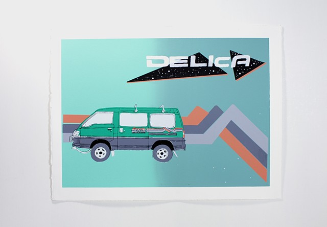 Screenprint of a Mitsubishi Delica