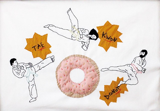 Hand Sewn martial artists attacking a donut