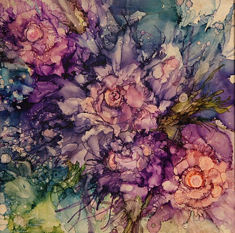 flower, purple, tile, painting, garden, summer, alcohol ink, rose, evening, frangrance,