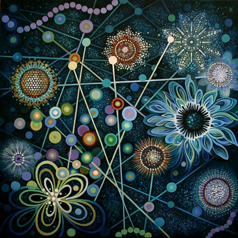 flowers, cosmos, grid, orb, light codes