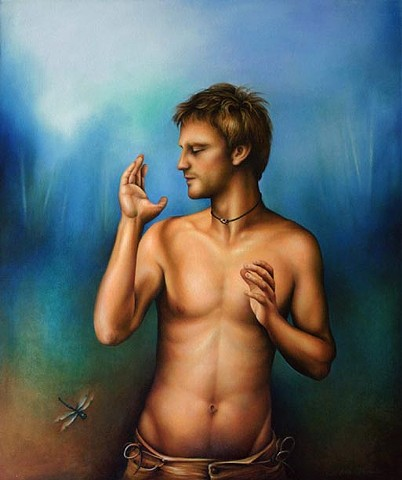 Man, Sexy, Painting, Art, Dragonfly, Light, Glow, energy, flow, Male