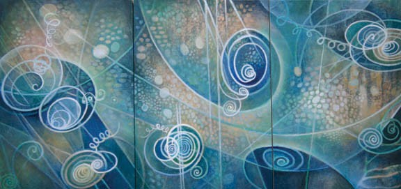 spirals, waves, particles, field, blue, green, trinity, spiritual art, painting, science, physics