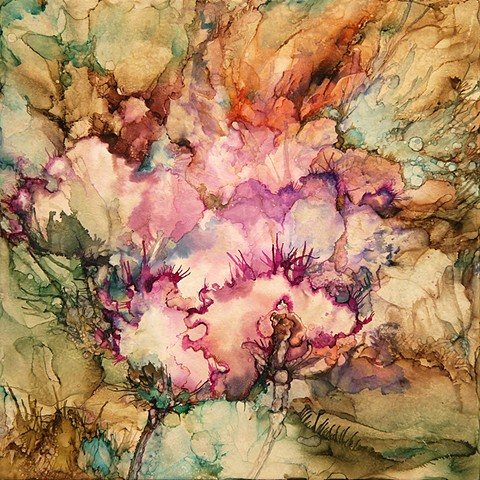 autumn, flowers, earth,fuschia, cockscomb, painting, alcohol ink, tile,