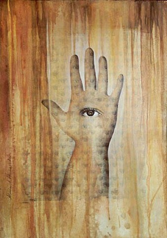 Inherent divinity, xerox transfer, eyes, iris, nature, patterns, golden mean, grid,mixed media, acrylic painting, hand, Hasma, Eye of God