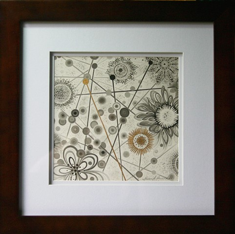 flowers, map, circles, orbs, line, print, gold leaf