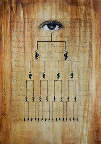 Inherent divinity, xerox transfer, eyes, iris, nature, patterns, golden mean, grid,mixed media, acrylic painting, eye chart