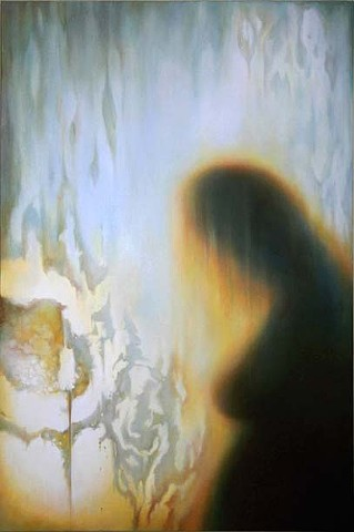 Angel, figurative, glow, light, veil, woman, nude, silhouette, oil painting, art