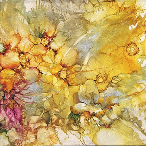 yellow, fairy, detail, flower, garden, tile, alcohol ink, painting, beauty