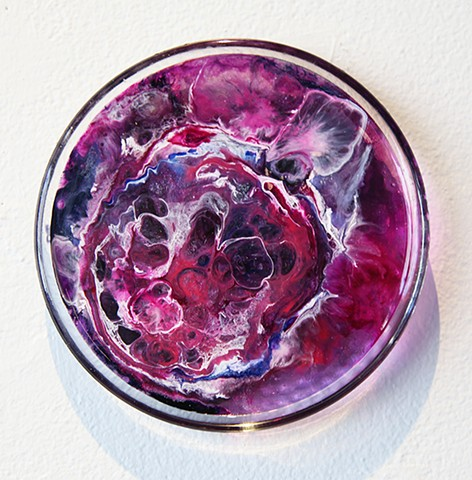 Planet, Purple, Sphere, Alcohol ink, epoxy, cosmic