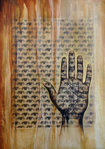 Inherent divinity, xerox transfer, eyes, iris, nature, patterns, golden mean, grid,mixed media, acrylic painting, hand, palm, palmistry, map