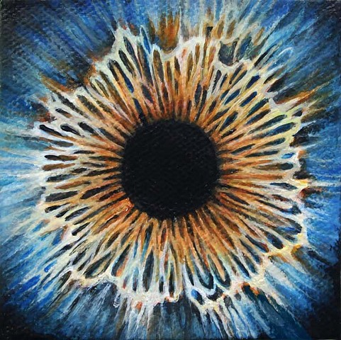 eye, painting, blue, cosmos, flower, iris