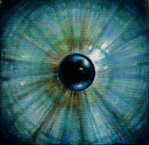 eye, painting, blue, cosmos, flower, Iris, circle, orb. portrait
