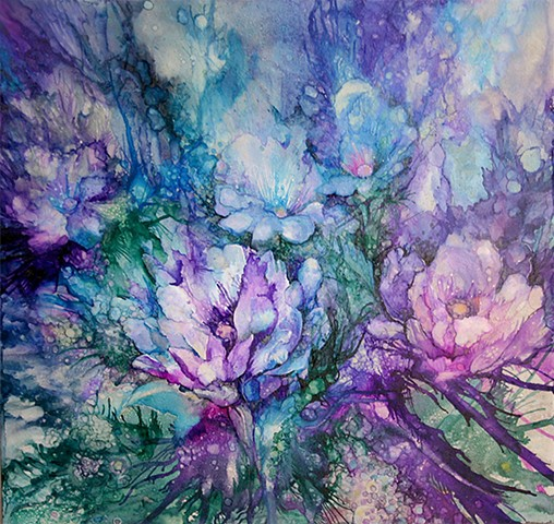 Garden, Twilight, Flowers, Blue, Purple, evening, tile, alcohol ink, painting, art