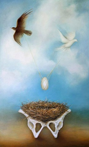 birds, bones, nest, egg, pendulum, white, black, duality, flying, push, pull, oil painting, pelvis, foundation, sky