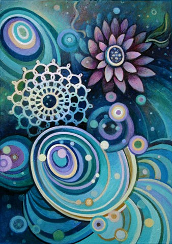 stars, galaxy, swirl, flower, vortex, floral, tat, light code, crochet, purple, teal, blue, stellar, constilations, science
