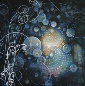 Painting containing particles of light in a Quantum field.