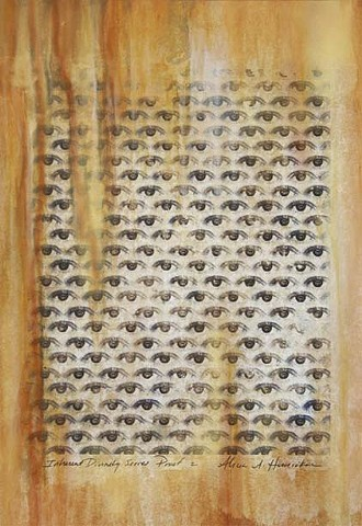 Inherent divinity, xerox transfer, eyes, iris, nature, patterns, golden mean, grid,mixed media, acrylic painting