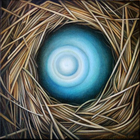nest, water, magic, oil painting, orb, circle