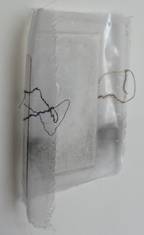 Small silk and paper drawing with violet ink and thread