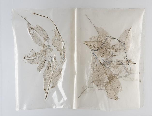 stitched skeletal leaves on silk and plexiglass